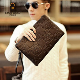 japan cell phones Promo Codes - Factory direct brand men bag fashion embossed leather business hand clutch casual leather men envelope bag large capacity mens storage walle
