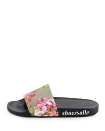 Wholesale womens flower flat sandals - 2018 red pink mens and womens blooms print flower slide sandals summer outdoor beach flip flops