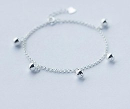 2019 campane in argento sterling WHOLESLAE Real. 925 gioielli in argento sterling Jingle Bell Chime Suoni Chain Bracelet Lady GTLS379 campane in argento sterling economici