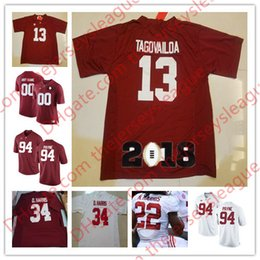 Wholesale Diamond Shorts - Alabama Crimson Tide #13 Tua Tagovailoa 22 N.Harris 34 D.Harris 94 Da'Ron Payne Red White Stitched 2018 Championship Diamond NCAA Jerseys