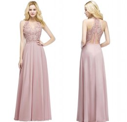 Wholesale pink carpets - Real Pictures 2018 Blush Pink Long Evening Dresses V Neck Beaded Lace Appliqued Chiffon Cheap Bridesmaid Party Prom Gowns CPS912