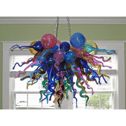 Lampade occidentali online-Stile multicolore Lampada lampadario d'arte in vetro di Murano a sospensione lampade occidentale soffiato Lampadario in vetro per Soggiorno Camera da letto