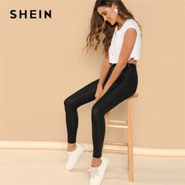 tejidos modernos Rebajas SHEIN Dama Moderna Cinta Negra Cintura Rib Knit  Leggings Mujeres Otoño Liso Casual 68f38c98065