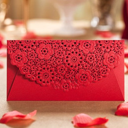Wholesale money digital - Romantic Card Envelopes for Wedding,Wedding party Favor Gift Bag Money Envelope Top Quality Red Bag Packets free shipping 100pcs