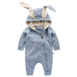 2019 baby jumpsuits sleeping Cute Rabbit Ear Hooded Baby Pagliaccetti per bambini Ragazzi Ragazze Vestiti per bambini Abbigliamento neonato Tuta Costume neonato Baby Outfit sacchi a pelo baby jumpsuits sleeping economici