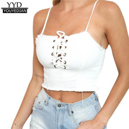 Wholesale Womens Sexy Denim Shorts - Summer 2018 New Arrival Sexy Womens Denim Camisole Casual Bandage Crop Tops Strap Vest Short Tanks Tops Women *1208