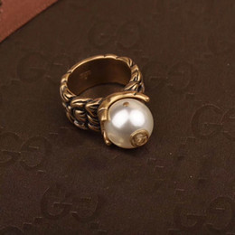 Wholesale pearl ring white gold - Famous design one ring with nature excellent pearl design Top quality brass for women wedding Rings Jewelry gift in 6-8# PS5430
