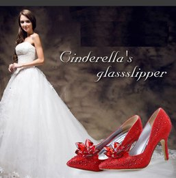 Wholesale Brides Slippers - White high heel, Cinderella glass slippers, the same red bride wedding shoes, female thin and pointed with the bridesmaid single shoes