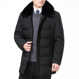 Chaquetas de puffs online-Hombre de mediana edad Puffer de invierno Chaquetas acolchadas negras Ocio masculino Puff Ropa de abrigo Hombres Abrigos acolchados Abrigos de hojaldre Padre Parkas