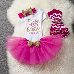 Wholesale Infant Black Tutu Skirt - Baby Girl's Christmas Suits 2018 Printed Birthday Letters 4PCS Sets Infant Sets Tops+headband+Gauze SKirts Baby Clothes Newborn