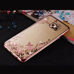 Wholesale Galaxy S4 Phone Covers - Glitter Plating Cover Soft TPU Flower Phone Case for Samsung Galaxy A3 A5 A7 2017 J3 J5 Prime J7 2016 S4 S5 S6 S7 Edge S8 Plus