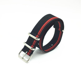 Wholesale Nato Straps - Wholesale-20mm Men G10 bond Nato Nylon Red Black Striped Strap for Army Sport Watch Replacement Watchband