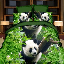 Wholesale 3d Comforters Sets - Wholesale- 3D Elengant Panda Rose Flower Bedclothes Quilt Comforter Bedding Set Pillowcase Set Duvet Cover Single Double
