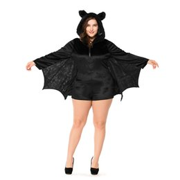 vampire games Promo Codes - Halloween Plus Size Cosplay Fancy Dress Black Faux Fur Bat Vampire Costume Women's Game Uniform Stage Wear