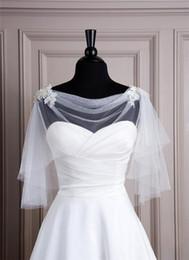 Wholesale Tulle Bridal Shrug - Short White Ivory Tulle Boleros Bridal Wedding Wraps Jackets Capes Shrugs Cheap Sale Plus Size Half Long Sleeves