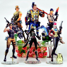Wholesale gifts stands - 21cm Fortnite Action Figure Acrylic toys Royale Character Standing Collection Gift Figure Display Toy Doll Novelty Items FFA491 62PCS