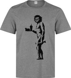 Banksy Street Art Caveman mangiare fast food grigio bianco stampato cotone uomo t-shirt manica corta t-shirt top girocollo tees regalo divertente breve da camicie art fornitori