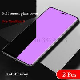 Lentes templados azul online-2 piezas de vidrio templado de alta calidad para OnePlus 6 protector de pantalla 9H 2.5D gafas de protección para OnePlus 6 vidrio OnePlus6 Anti-Blu