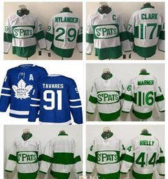 ecce9630646 2018 John Tavares Jersey with A Patch Toronto Maple Leafs ST Pats 16 Mitch  Marner 29 William Nylander 34 44 Rielly 17 Wendel Clark Jerseys