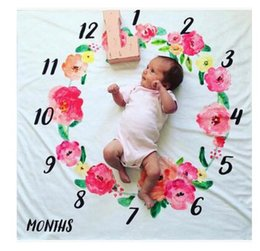 Wholesale Wholesale Baby Bottle Covers - Blanket Baby Photography Props Mattre Wrap Flower Printed Soft Blanket Kids Photography Props Number Swaddle Cover DHL Free shipping