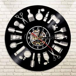 Atacado-1Piece Logo Cabelo Registro Wall Art Relógio Barber Shop Decor Cabeleireiro do salão de beleza presente Handmade Beleza de Fornecedores de banheiro de quartzo