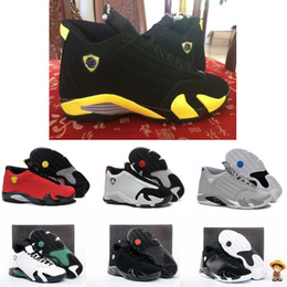 Wholesale Fusion Shoes - High Quality 14 14s Fusion Varsity Red Suede Thunder Black Men Basketball Shoes XIV Playoffs Sneakers With Shoes Box