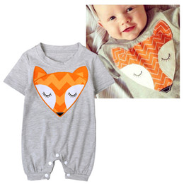 Wholesale Prints Patterns Jumpsuits - Summer Baby Romper Jumpsuit INS Boys Girls Cartoon Fox Pattern Printed Short-sleeved Cotton Romper Bodysuit Children Kids Clothes 993