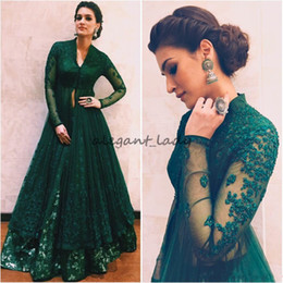indian prom dresses sleeves Promo Codes - Hunter Green Formal Dresses Evening Wear With Long Sleeves Beaded Lace Kaftan Abaya Dubai Indian V Neck Prom Dress Kriti Sanon in Anju Modi