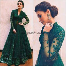 Wholesale Indian Long Evening Dresses - Hunter Green Formal Dresses Evening Wear With Long Sleeves Beaded Lace Kaftan Abaya Dubai Indian V Neck Prom Dress Kriti Sanon in Anju Modi