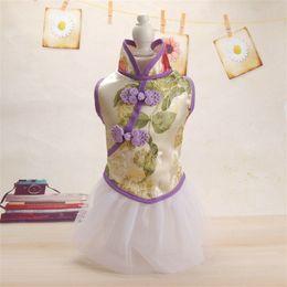 ko Rabatt Retro Pet Cheongsam Design Kleidung chinesischen Stil Pudel Stickerei Rock klassische Mode Katze Dogtang Kostüm Bekleidung 18md Y