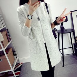 Wholesale cardigan ladies long design - New Autumn Spring 2018 Women Sweater Cardigans Casual Warm Long Design Female Knitted Sweater Coat Printed Cardigan Sweater Lady