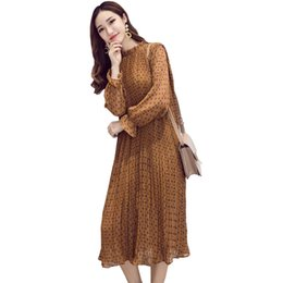 Wholesale Long Casual Chiffon Dresses - Spring dress for women A line Stand neck Cute style Floral print Long sleeve Maxi dresses Size S-2xL