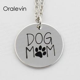 Empreinte de chien en pendentif en Ligne-CHIEN MAMAN Animal Dog Paw FootPrint Pendentif Charmes Collier Cadeau Bijoux 22 MM, 10 Pcs / Lot, # LN380