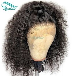 natural curls lace wig Coupons - Bythair Human Hair Full Lace Wig Short Curly Lace Front Wig Pre Plucked Hairline Deep Curl Malaysian Virgin Hair 150% Density Bleached Knots