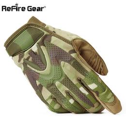 Équipement de camouflage en Ligne-ReFire Gear Camouflage Armée Tactique Armée Hommes SWAT Militaire Équipement Doigt Complet Doigt CP Camo Paintball Shoot Gants De Vélo D18110705