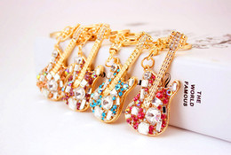 Wholesale Crystal Guitar Keyrings - New arrived guitar shape Rhinestone Keyrings Key Chains Rings Holder Purse Bag For Car Lovely Keychains LY