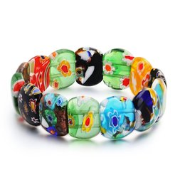 Китайские каменные браслеты онлайн-Многоцветный Глазурь Камень Бисером Вставить Цветы Цветной Браслет Китайский Стиль Упругие Запястье Цепи Аксессуар Горячие Ювелирные Изделия Мода