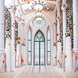 2019 fondos de araña Interior Palacio Lámparas de fondo de la boda para la fotografía Impreso pilares blancos Flor de la pared Puerta arqueada azul Photo Studio Backgrounds fondos de araña baratos
