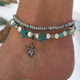 Wholesale trendy sport - Bohemian Retro Charm Carved Turtle Pendant Anklet Bracelets Set Handwork Weaving Leather Women Trendy Bracelet Anklets Summer Beach Accessor