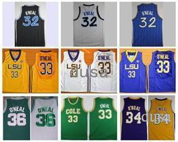 Wholesale Big O - Throwback The Big Shaq Shaquille O'Neal Basketball Jerseys LSU Tigers College Stitched Jerseys Cole High School Green O Neal Shirts