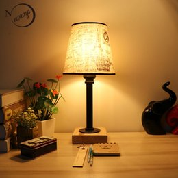 Wholesale Design Vintage Bulbs - Vintage design retro black bedside steam punk fabric lampshade table lamp e27   e26 lights for bedroom workroom workshop office