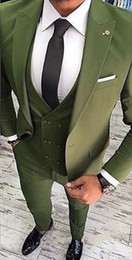 Gilet vert clair en Ligne-Slim Fit Light Green Marié Tuxedos Excellent Hommes De Mariage Smokings Haute Qualité Hommes Formel Business Prom Party Suit (Veste + Pantalon + Cravate + Gilet) 1750