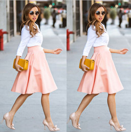 Wholesale Flared Skirt High Waist - Hot Fashion Women Lady Stretch High Waist Skirts Flared Pleated Pink Solid Casual Party Skirts