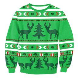 Reno verde Impreso Tops de invierno Sudaderas de Navidad Moda Streetwear Cuello redondo manga larga Ropa de Navidad Novedad Tops Sudaderas desde fabricantes
