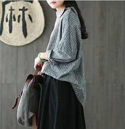 Wholesale Girls Batwing Tops - Vintage Mori Girl Loose Casual Irregular Stripe Linen Sleeve Fall Batwing Long Sleeve Shirt Female Spring Blouse Tunic Top Shirt