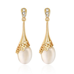 Wholesale Kc Gold Plating - Fashion ladies long section plating KC gold earrings fashion high-end banquet wedding pearl earrings