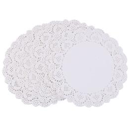 Wholesale paper lace doilies - 100Pcs White Round Lace Paper Doilies Cake Lace Paper Cake Placemat Craft Vintage Coasters Wedding Party Christmas Table Decor