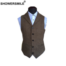 Коричневые твидовые куртки онлайн-SHOWERSMILE Suit Vest Men Wool Tweed British Style Waistcoat Brown Classic Slim Fit Herringbone Sleeveless Jacket Plus Size 4XL