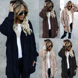 Wholesale Cardigan Two Color Woman - Women Hooded Long Faux Fur Coat Jacket Hoodies Two Side Wear Parka Outwear Cardigan Warm Coat OOA4229