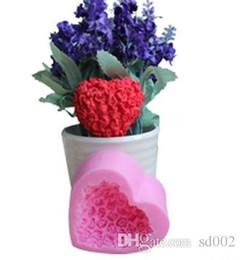 Mini rose silikon online-Liebe Herzform Silikonform Mini Rose Blume Kuchen Backen Werkzeuge DIY Schokolade Puddingform Für Valentinstag Beste Geschenke 4zy ZZ
